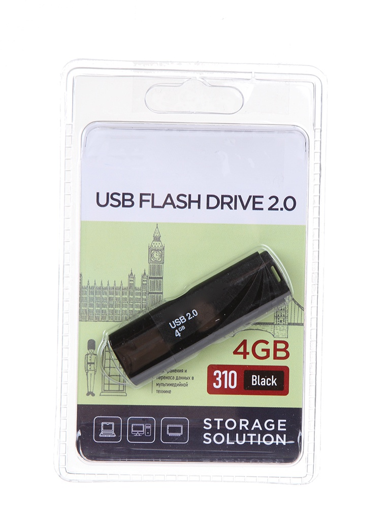 USB Flash Drive 4Gb - OltraMax 310 OM-4GB-310-Black.