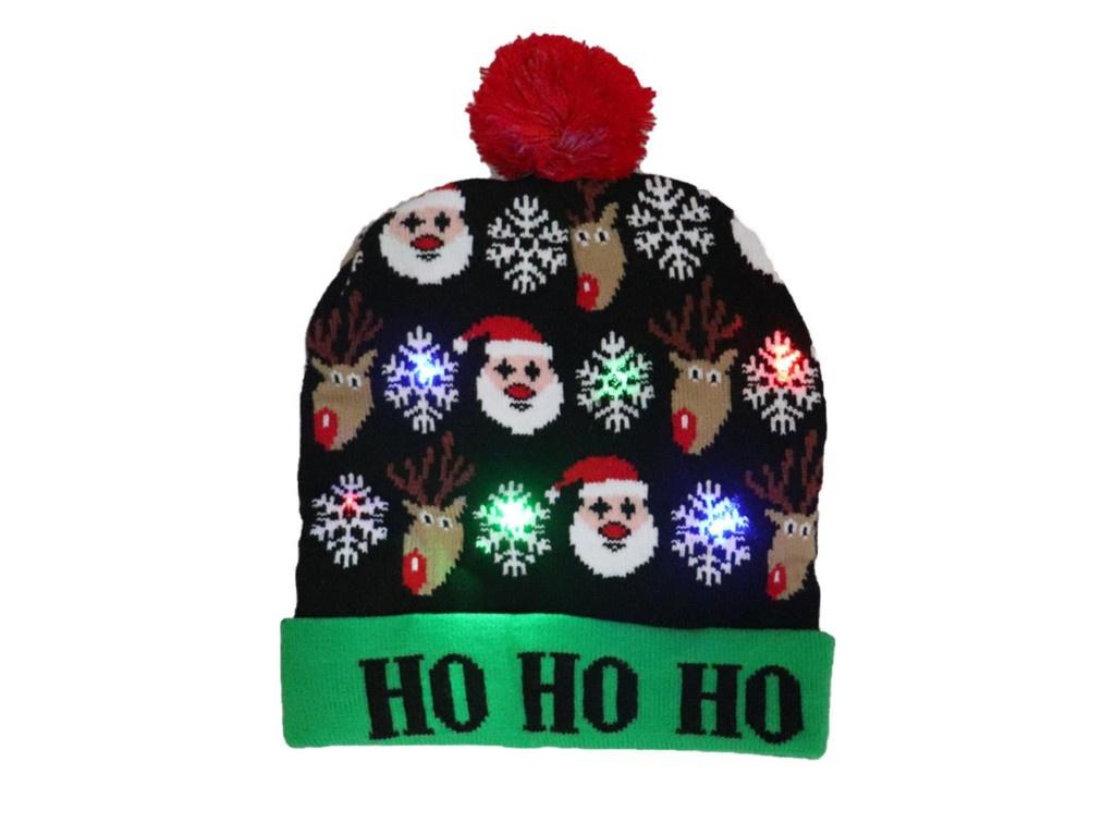 Вязаная новогодняя шапка ZDK Хо-Хо со светодиодной подсветкой ngHat02