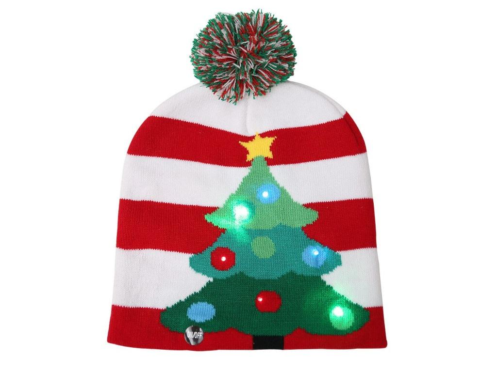 Вязаная новогодняя шапка ZDK Елочка со светодиодной подсветкой ngHat04
