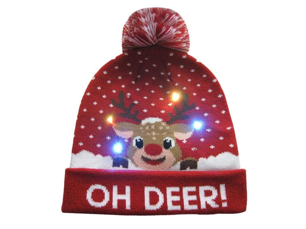 Вязаная новогодняя шапка ZDK Олененок со светодиодной подсветкой ngHat01