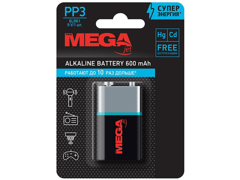 Батарейка Крона - ProMega 6LR61 9V 1604A (1 штука) 1188313