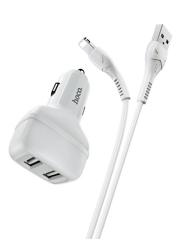 Зарядное устройство Hoco Z36 2xUSB 2.1A + кабель Lightning White
