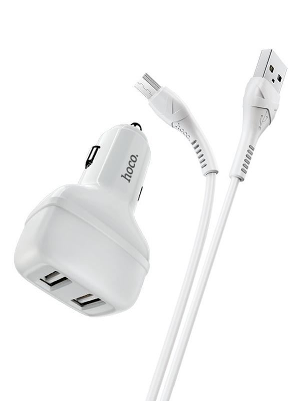 Фото - Зарядное устройство Hoco Z36 2xUSB 2.1A + кабель microUSB White зарядное устройство defender upc 21 2xusb кабель microusb 83581