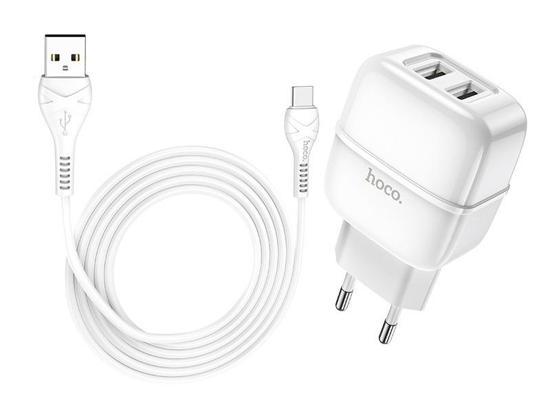 Фото - Зарядное устройство Hoco C77A 2xUSB 2.4A + кабель Type-C White зарядное устройство hoco c75 2xusb type c кабель type c white