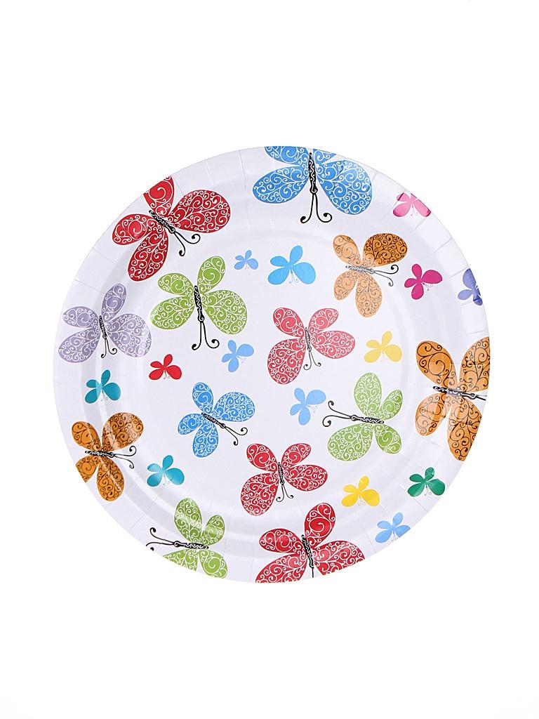 Одноразовые тарелки Хамелеон Бабочки 18cm 6шт VPH309