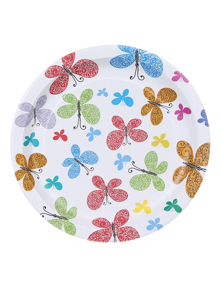 Одноразовые тарелки Хамелеон Бабочки 23cm 6шт VPH308