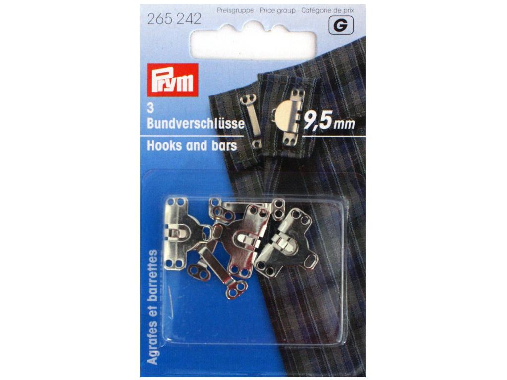 Крючки для брюк и юбок Prym 9.5mm 3шт Silver 265242