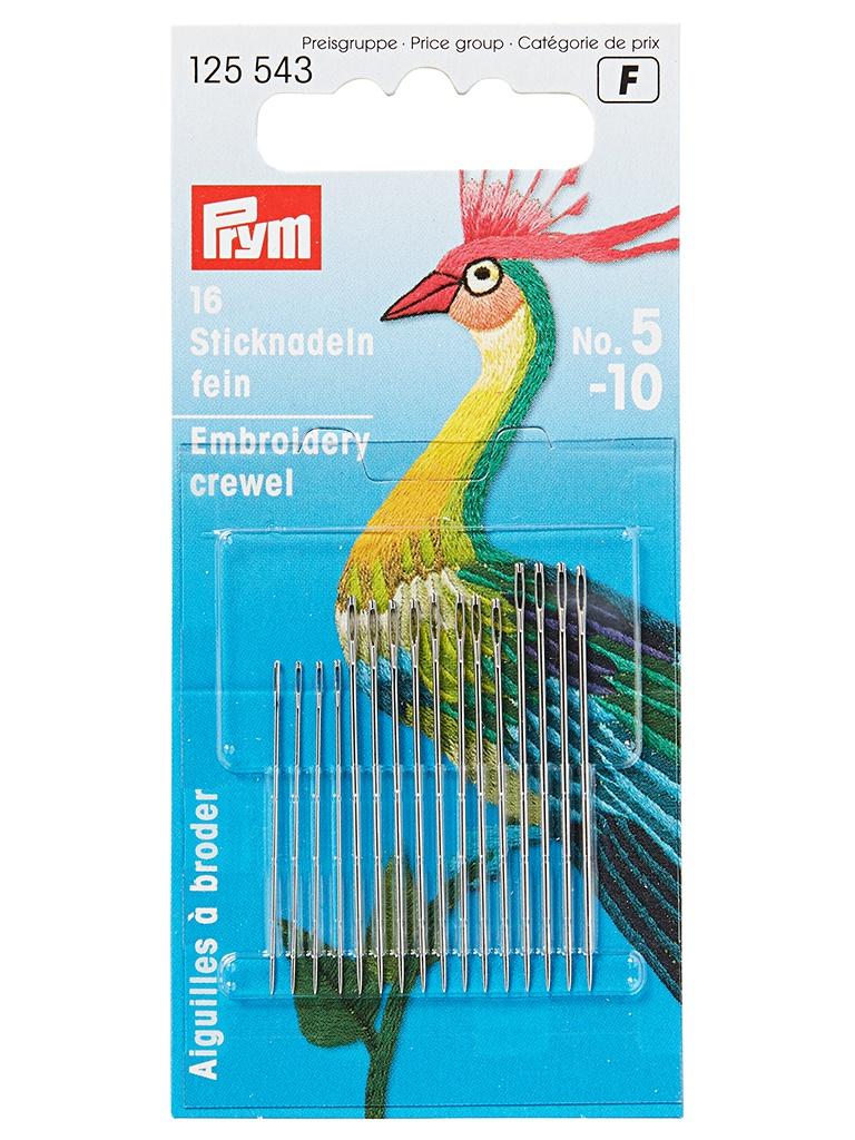 Иглы для вышивки Prym №5-10 16шт 125543 игла prym 125543 иглы вышивальные тонкие 5 10 prym