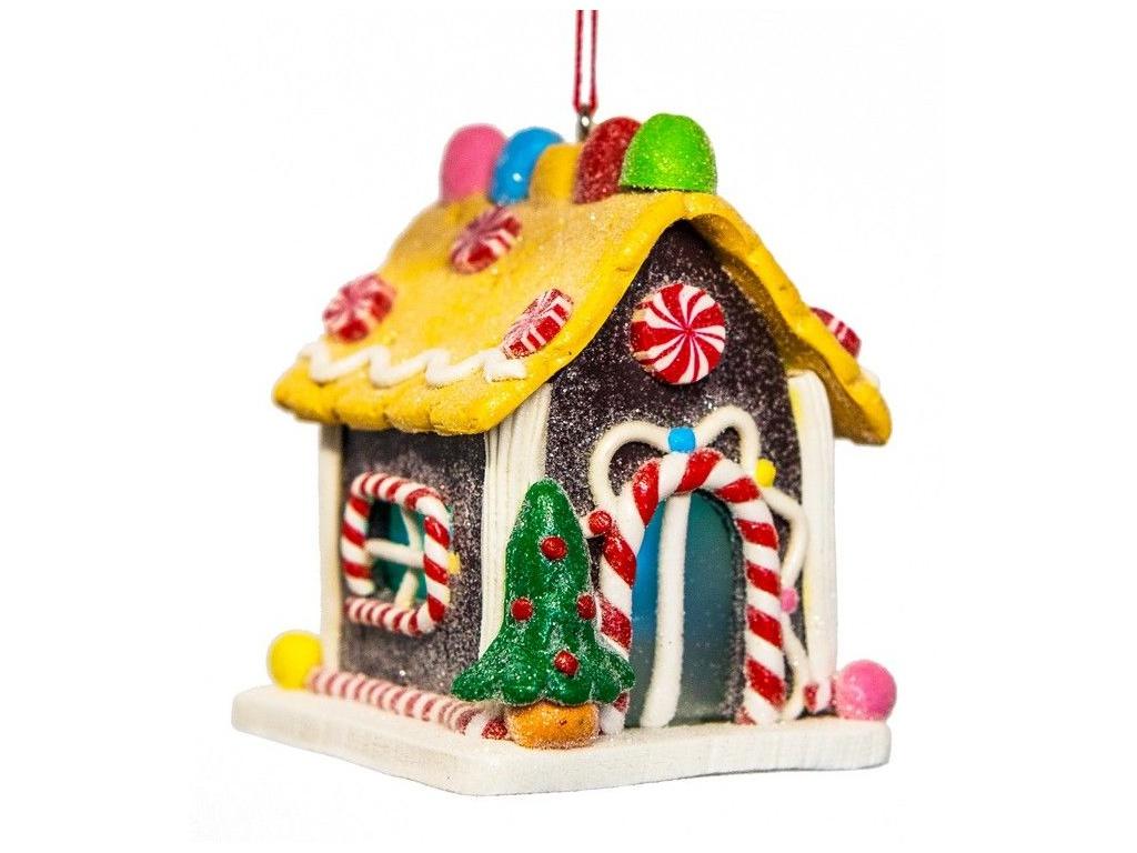 Елочная игрушка Forest Market Пряничный домик с елочкой LED-огнями 6.7x6.5x6.7cm MA8002C