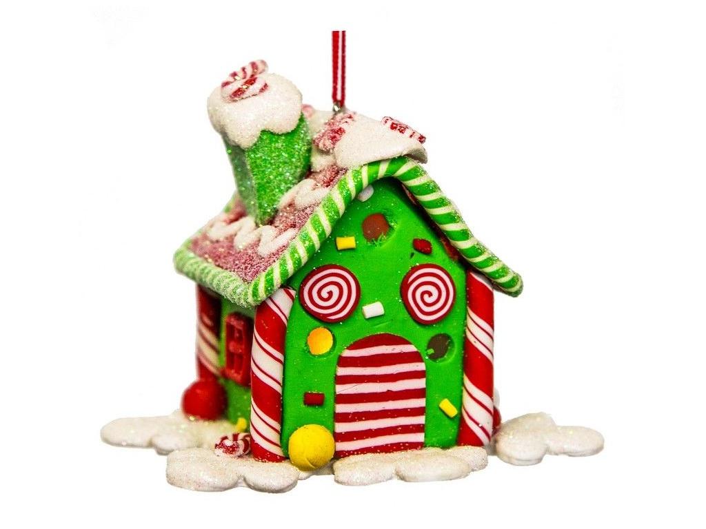 Елочная игрушка Forest Market Прянично-леденцовый домик с LED-огнями 9.7x9.7x8cm Green MA6740D