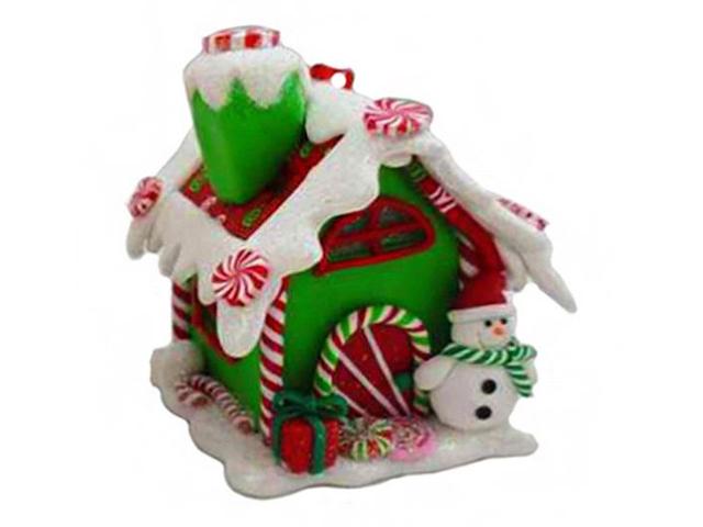 Елочная игрушка Forest Market Пряничная избушка с сахарной крышей для снеговика LED-огнями 6x6.5x9cm MA8904C