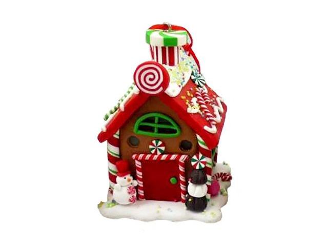 Елочное украшение Forest Market Пряничный домик с LED-огнями 6x6x9cm Red-Green MA8507B