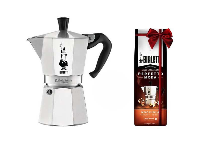 Кофеварка Bialetti Moka Express 6 порц.+кофе молотый Hazelnut 200г