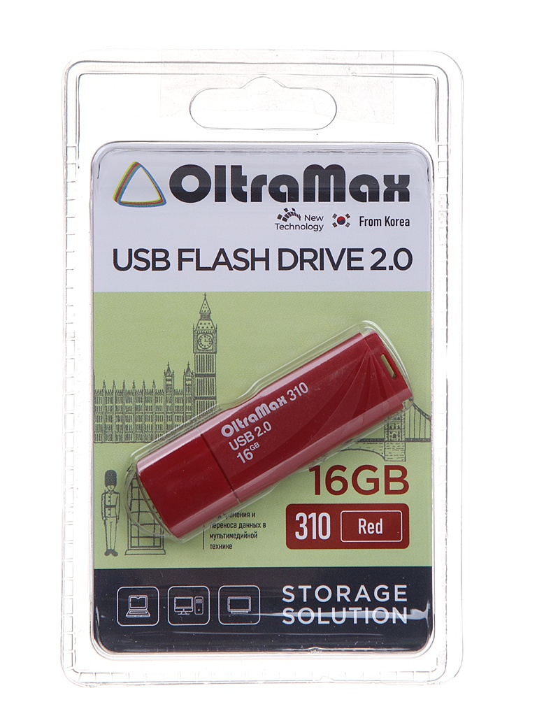 USB Flash Drive 16Gb - OltraMax 310 OM-16GB-310-Red
