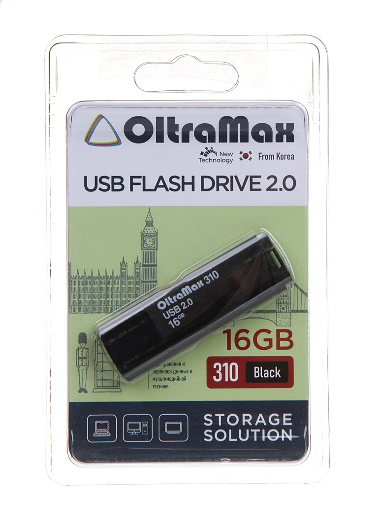 USB Flash Drive 16Gb - OltraMax 310 OM-16GB-310-Black