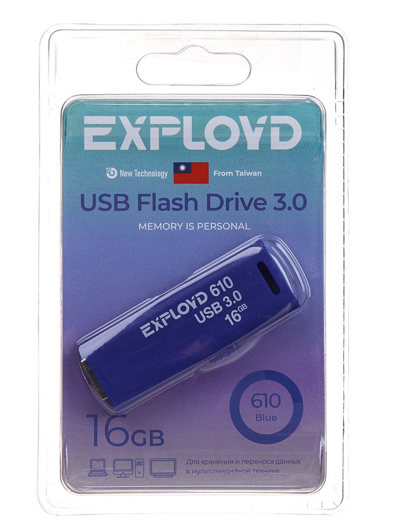 USB Flash Drive 16Gb - Exployd 610 EX-16GB-610-Blue