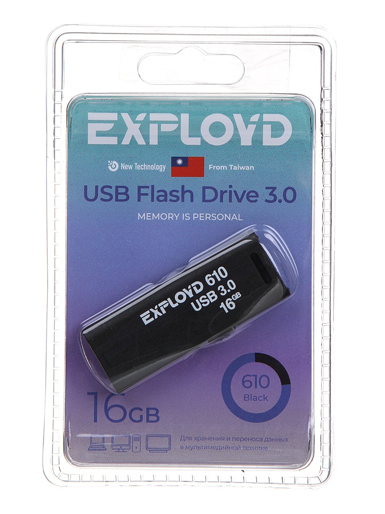 USB Flash Drive 16Gb - Exployd 610 EX-16GB-610-Black