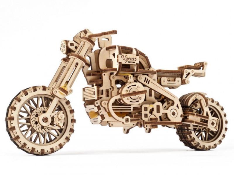 d lex деревянный конструктор мотоцикл с коляской звуковые эффекты Конструктор UGears Мотоцикл Scrambler UGR-10 с коляской 70137