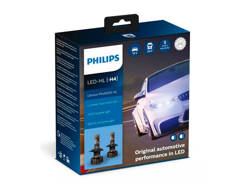 Лампа Philips Ultinon Pro9000 LED-HL H4 13.2V 18W 5800K (2 штуки) 11342U90CWX2