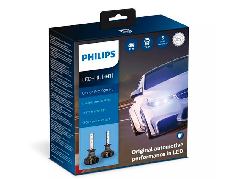 Лампа Philips Ultinon Pro9000 LED-HL H1 13.2V 18W 5800K (2 штуки) 11258U90CWX2