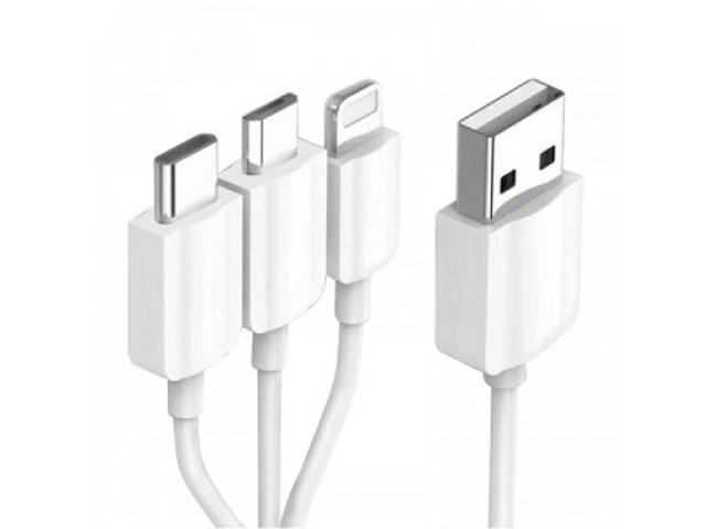 Фото - Аксессуар KS-is KS-478W-0.2 3-in-1 USB - Type-C / MicroUSB / Lightning 20cm White аксессуар awei 2 in 1 usb microusb lightning 1 2m beige cl 70