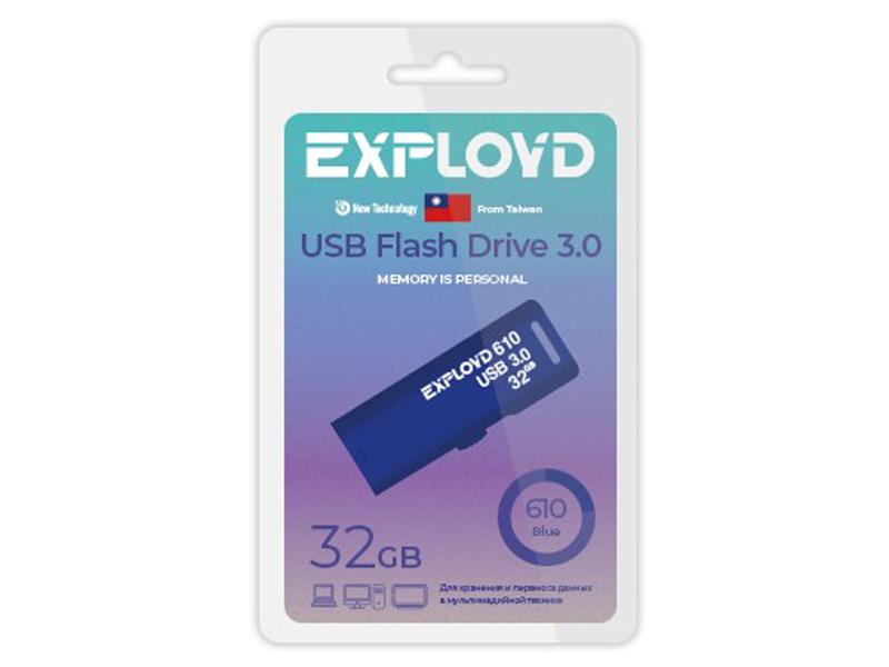 Фото - USB Flash Drive 32Gb - Exployd 610 EX-32GB-610-Blue usb flash drive 32gb molti pebble universal usb 3 0 grey blue 15810 42