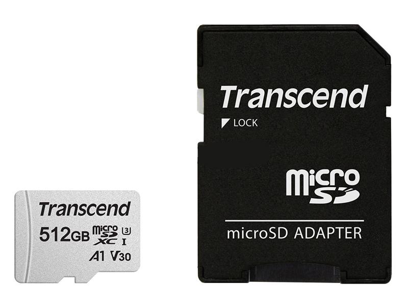 Фото - Карта памяти 512Gb - Transcend 300S Micro Secure Digital XC Class 10 UHS-I TS512GUSD300S-A с переходником под SD карта памяти 32gb transcend high capacity class 10 secure digital ts32gsdhc10