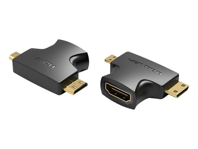 Фото - Аксессуар Vention HDMI 19F - Mini HDMI + Micro HDMI AGFB0 аксессуар vention displayport 20m hdmi f hbkb0