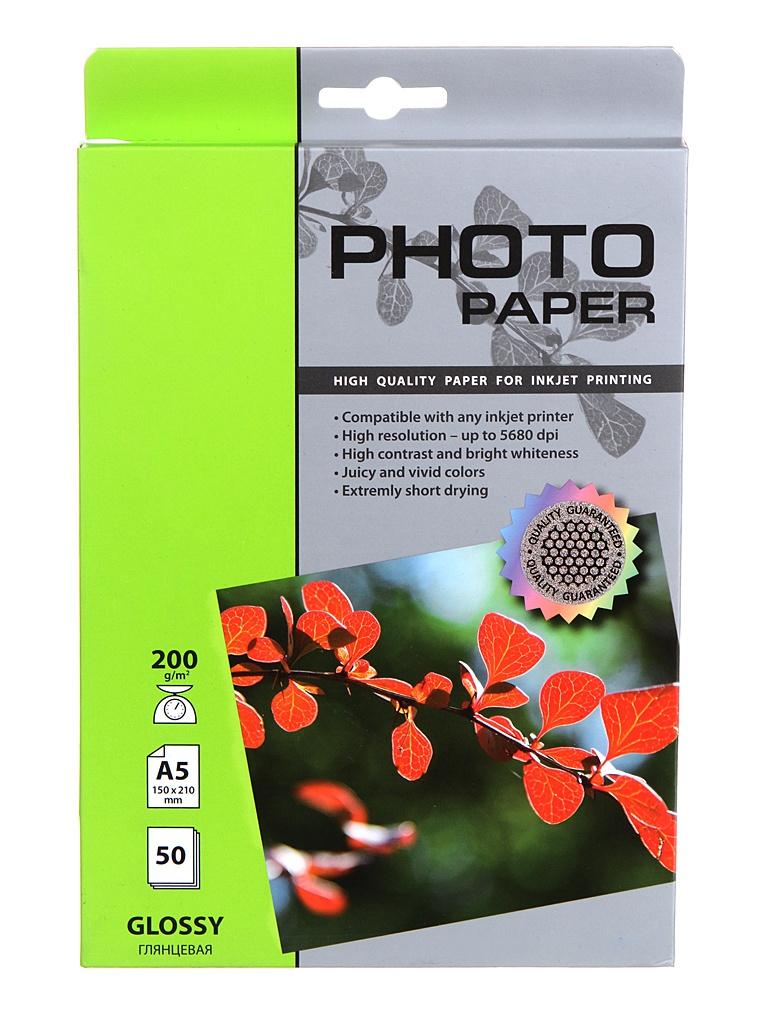 Фото - Фотобумага Cactus A5 200g/m2 глянцевая 50 листов CS-GA520050 cactus cs ga520050 a5 200г м2 50л