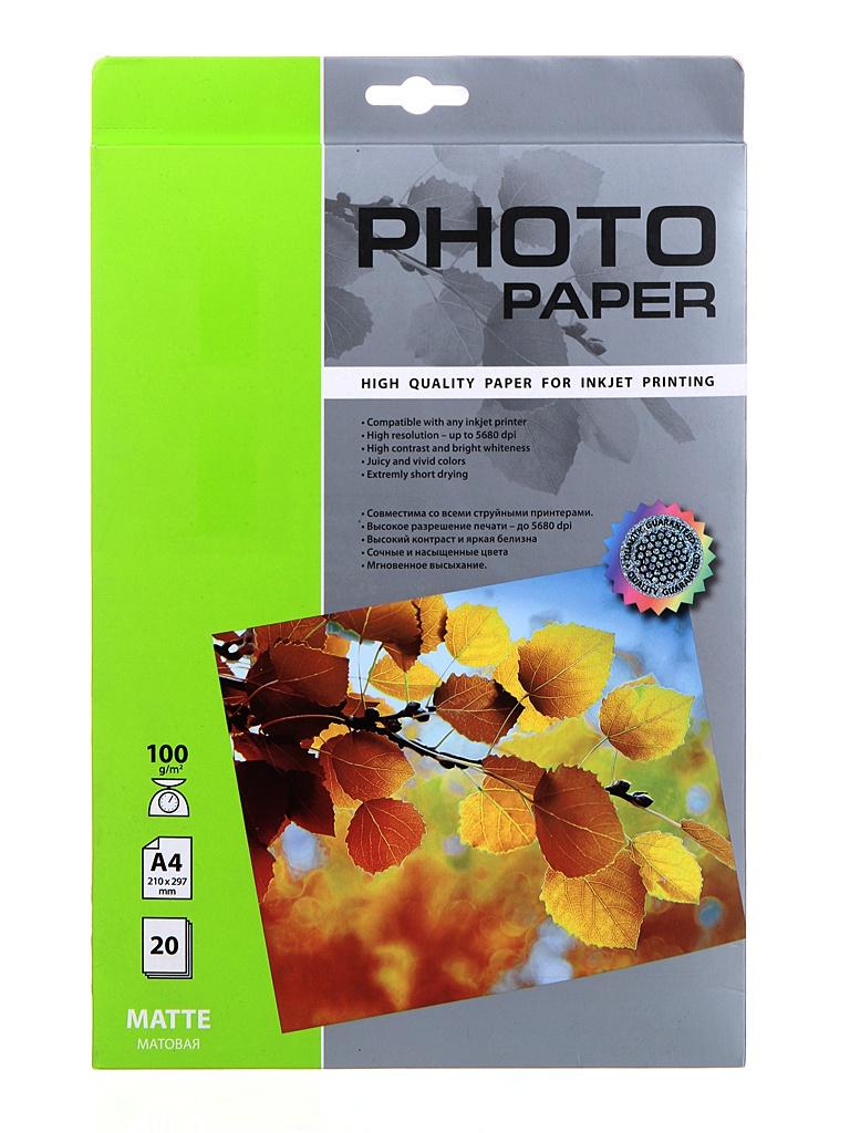 Фотобумага Cactus A4 100g/m2 матовая 20 листов CS-MA410020
