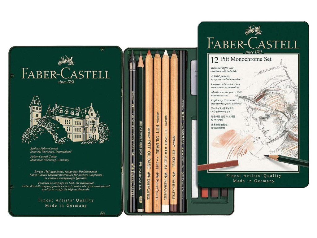 Набор художественный Faber-Castell Pitt Monochrome 12 предметов 112975
