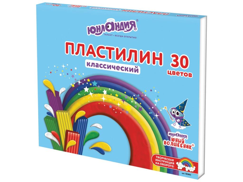 Набор для лепки Юнландия Пластилин Юный волшебник 30 цветов 600g 105903