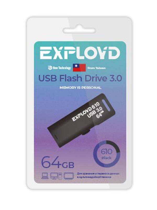 USB Flash Drive 64GB Exployd 610 EX-64GB-610-Black