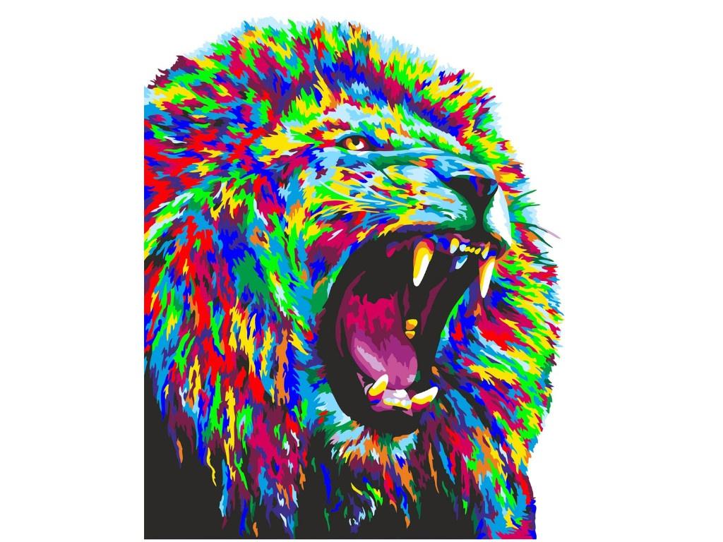 Картина по номерам Русская живопись Неоновый лев 40x50cm H142
