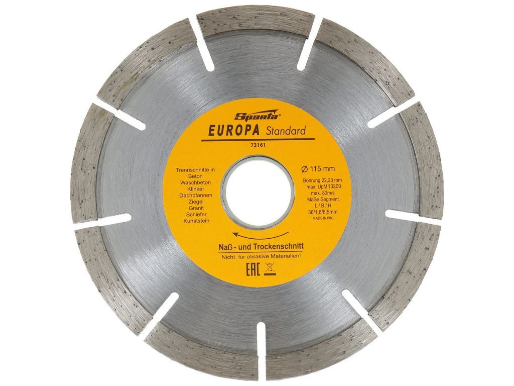 Диск Sparta Europa Standard отрезной алмазный сегментный 115x22.2mm 73161