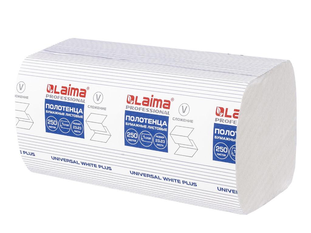 Полотенце Лайма Universal White Plus бумажное 1-слойное 23х23cm 250шт 111343