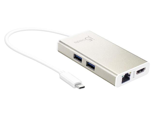 Фото - Мульти-адаптер J5create USB-C - HDMI / Ethernet / USB 3.0 Type-A / PD 2.0 JCA374 аксессуар j5create usb type a 2 0 usb type c jucp13