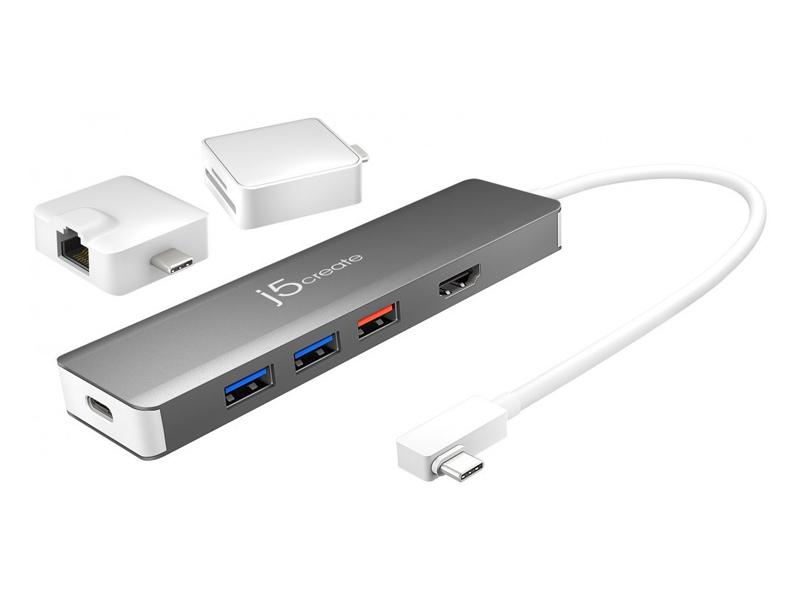 Мульти-адаптер J5create USB-C Modular + 2 адаптера JCD375