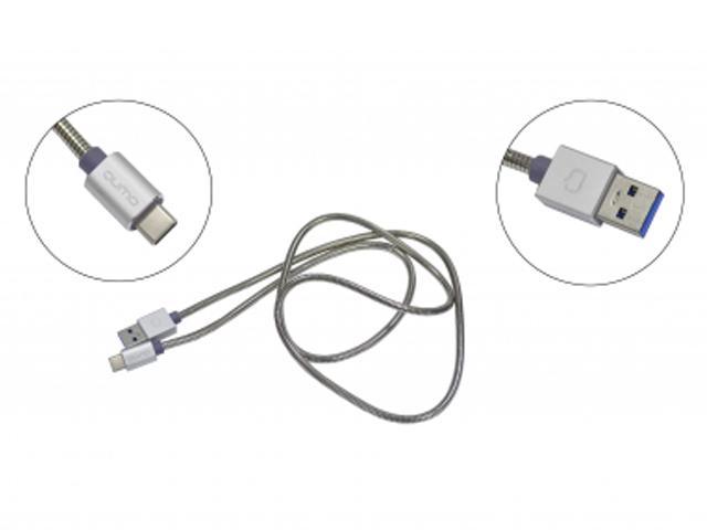 Фото - Аксессуар Qumo USB 3.0 - Type-C 1.0m Silver 22478 аксессуар qumo usb microusb 1 8m white 24429