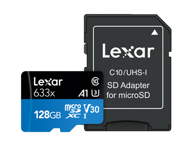 Карта памяти 128Gb - Lexar Micro Secure Digital XC UHS-I Class 10 A1 V30 U3 LSDMI128BB633A с переходником под SD