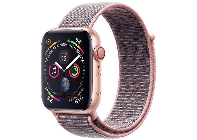 Аксессуар Ремешок DF для APPLE Watch 42mm/44mm Pink Gold iNylonBand-02