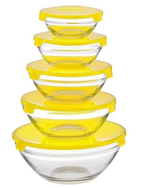 Набор салатников Доляна Классика 900ml/500ml/350ml/200ml/130ml 5шт Yellow 906126