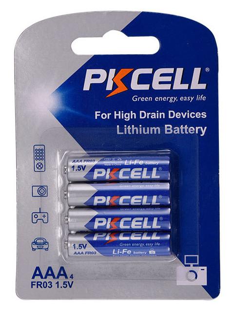 Аккумулятор AAA - Pkcell 1.5V 2900mAh Li-ion Li-Fe AAA-4B (4 штуки)