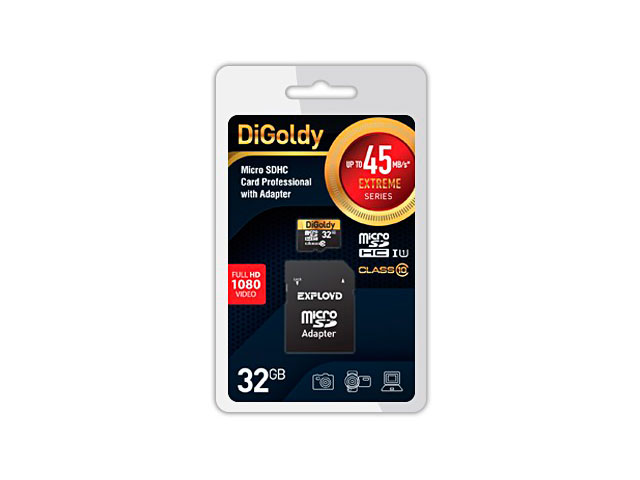 Фото - Карта памяти 32Gb - DiGoldy Micro Secure Digital HC Class 10 UHS-I Extreme DG032GCSDHC10UHS-1-ElU1 с переходником под SD карта памяти 32gb transcend high capacity class 10 uhs class 1 secure digital ts32gsdhc10u1