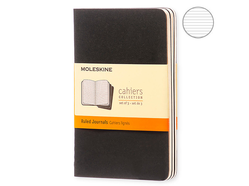 Блокнот Moleskine Cahier Journal Pocket 90x140mm 32 листа 3шт Black QP311 / 385277