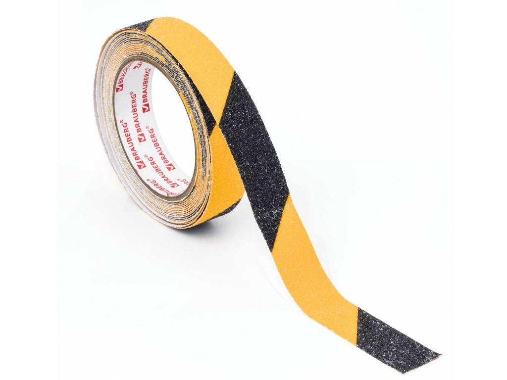 Клейкая лента противоскользящая Brauberg 25mm x 5m Black-Yellow 606773