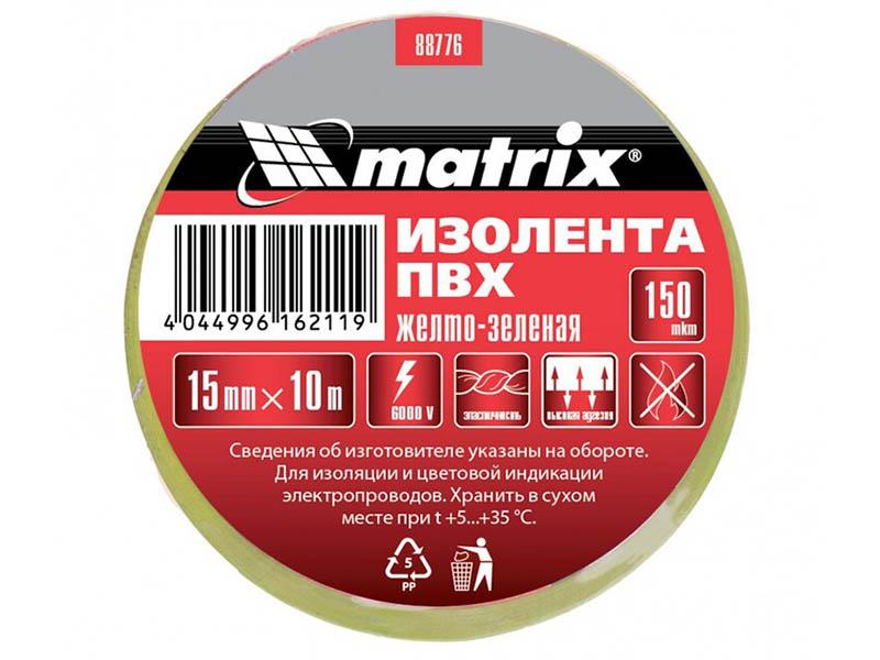 Изолента Matrix 15mm x 10m Yellow-Green 88776