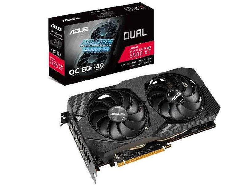 Видеокарта ASUS Dual AMD Radeon RX 5500 XT EVO OC 1647Mhz PCI-E 8192Mb 14000Mhz 128 bit 3xDP HDMI DUAL-RX5500XT-O8G-EVO