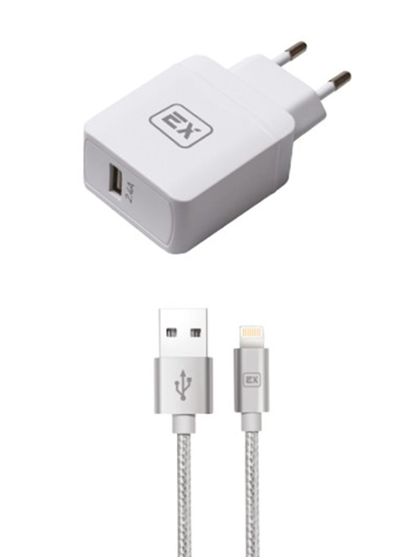 Фото - Зарядное устройство Exployd Sonder 1xUSB 2.4A/2.4A QC3.0 + Cable Lightning White EX-Z-625 зарядное устройство exployd sonder 1xusb 2 4a qc3 0 кабель type c white ex z 633