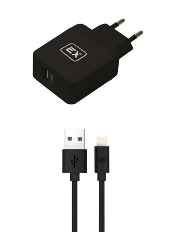 Фото - Зарядное устройство Exployd Sonder 1xUSB 2.4A/2.4A QC3.0 + Cable Lightning Black EX-Z-624 зарядное устройство exployd sonder 1xusb 2 4a qc3 0 кабель type c white ex z 633